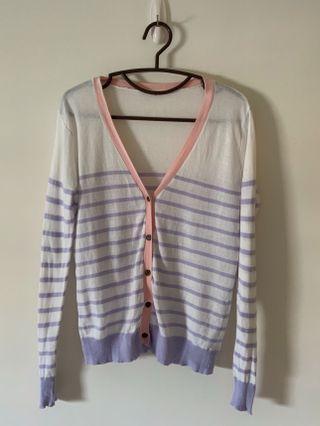 淡紫粉紅滾邊針織薄外套