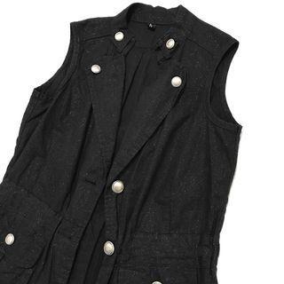 black shimmery military style vest jacket import / outer jaket korean look murah