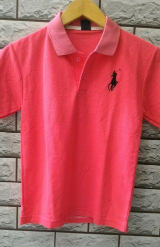 Two Tone Polo Shirt Pink