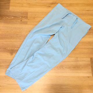 古著水藍色抽繩直筒寬褲 休閒褲