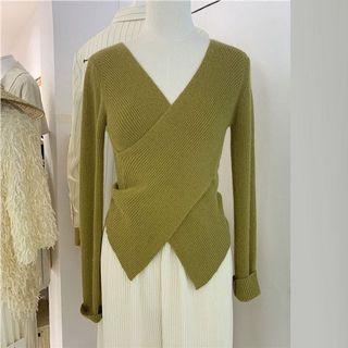 「R」不規則交叉v領修身針織長袖上衣(預購)