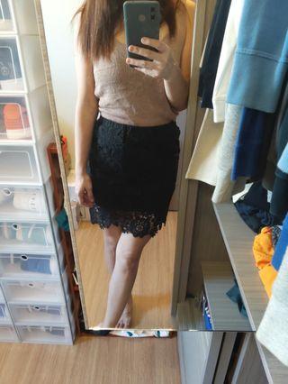 黑色蕾絲包臀鬆緊短裙(裡面有安全褲)
