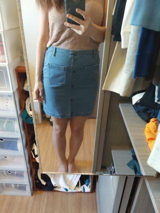 轉賣GU 牛仔鬆緊短裙