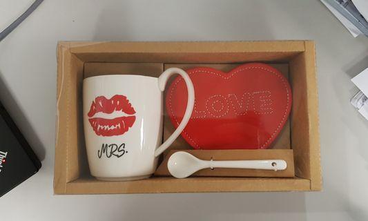 Love mug with coaster and spoon
