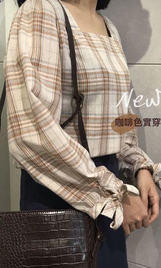 氣質姐姐咖啡方領格襯衫🍂Roomee