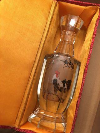 Handpainted Chinese Rooster and Bamboo Glass Bottlep