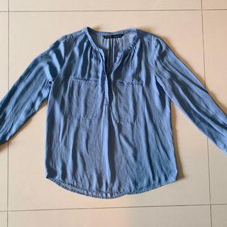 ZARA綢緞質感藍開襟襯衫上衣/適合XS/S/M