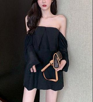 Two Way Off Shoulder Ruffle Mini Dress