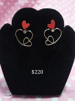 韓版雙心耳環