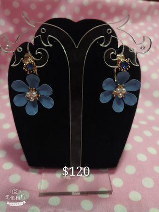 韓版藍花耳環