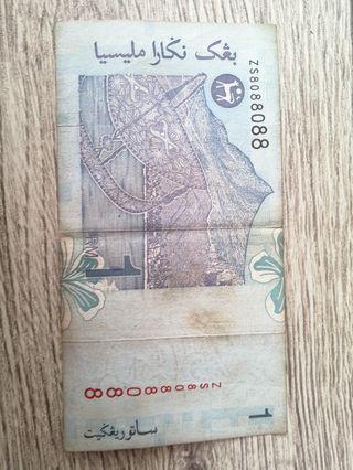 Duit Lama Kertas RM1 no siri 8 Unik Serial No