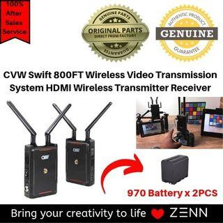 CVW Swift 800FT Wireless Video Transmission System HDMI Wireless Transmitter Receiver for Smartphone Monitor DSLR with 2PCS NP-970 BATTERY