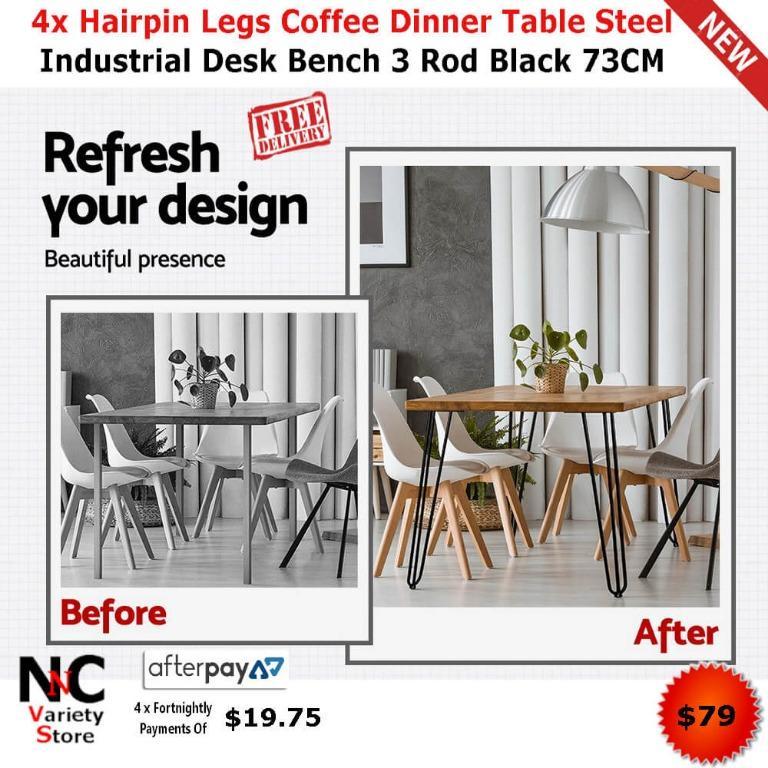 4x Hairpin Legs Coffee Dinner Table Steel Industrial Desk Bench 3 Rod Black 73CM