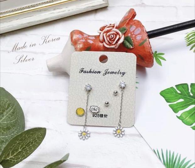 韓國 925銀針 花朵🌼垂墜耳環 微笑 耳環組合