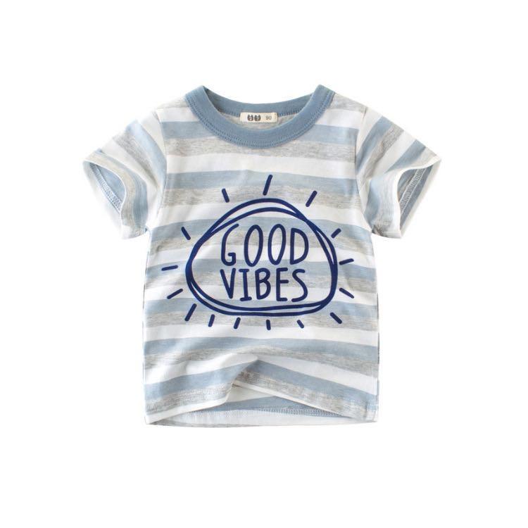 男童夏季純棉條紋短袖上衣 藍白條紋 110cm