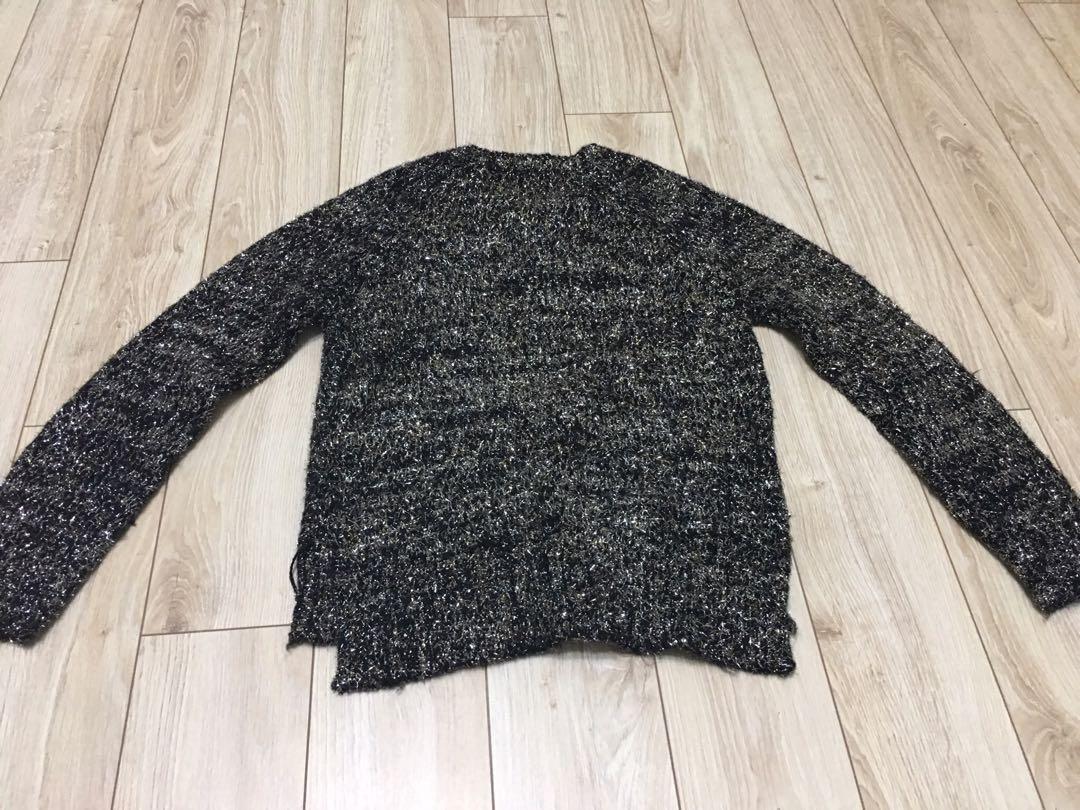 黑色金蔥針織衫二手  九成新  跨年活動閃亮必穿