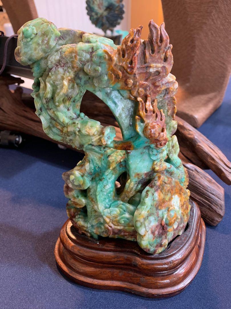 正 台灣藍寶雕件 龍如意