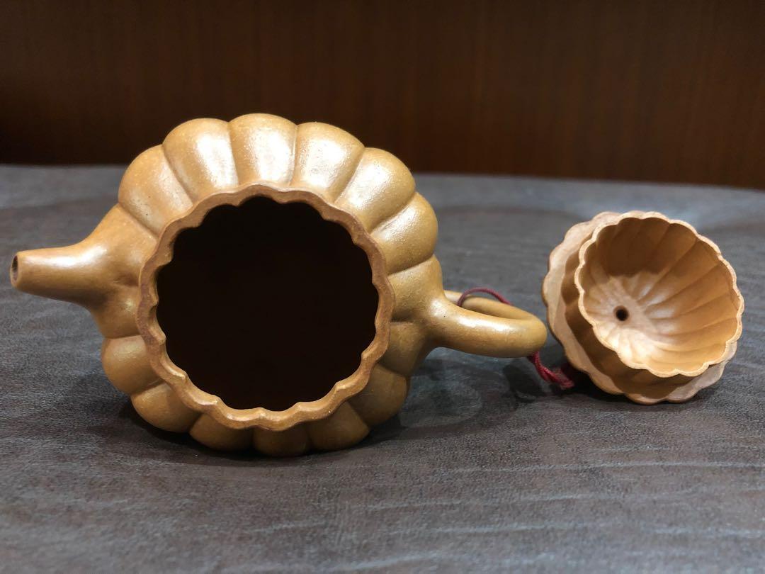 早期紫砂茶壺 橘瓣筋紋黃金段泥壺 葉形印 福記