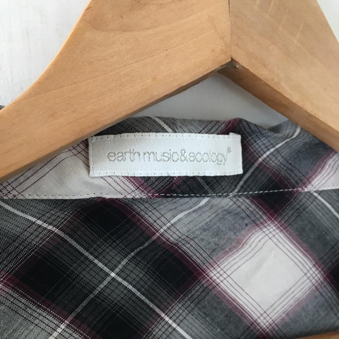日本品牌 | earth music & ecology | 近新 小圓領 格紋 綁帶 純棉 長袖 襯衫