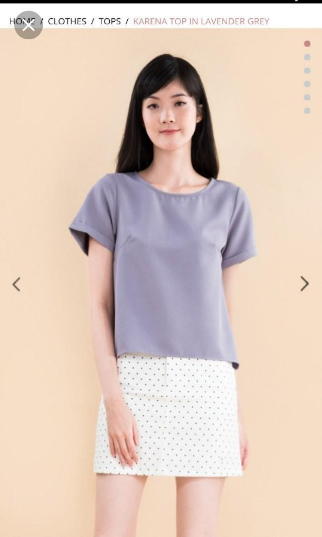 ❤ Ninth Collective Karena Top in Lavender Gray