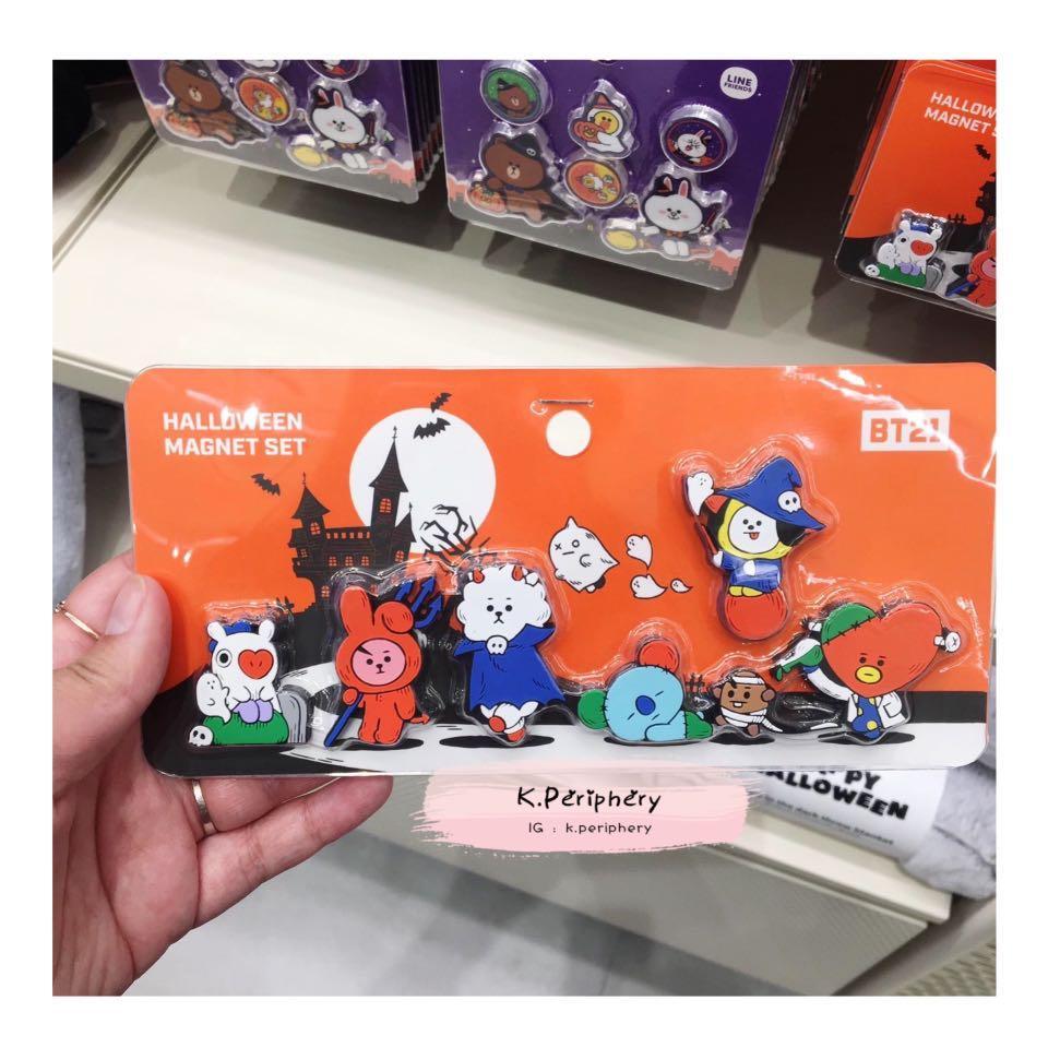 【🇰🇷 PRE-ORDER 】  BT21 x Line Friends Halloween Magnet Set