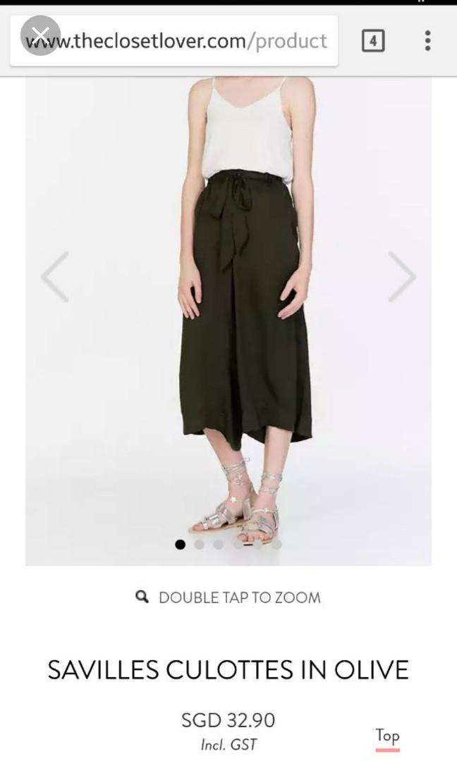 ❤ TCL Savilles Culottes in Olive