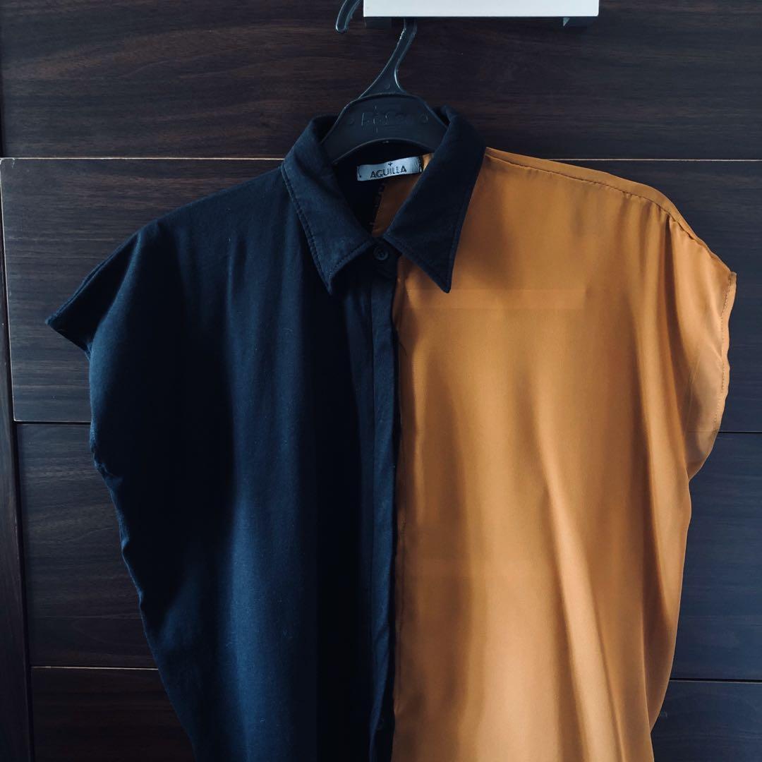 AGUILLA HALF SEE THROUGH SHIRT - Brown & black