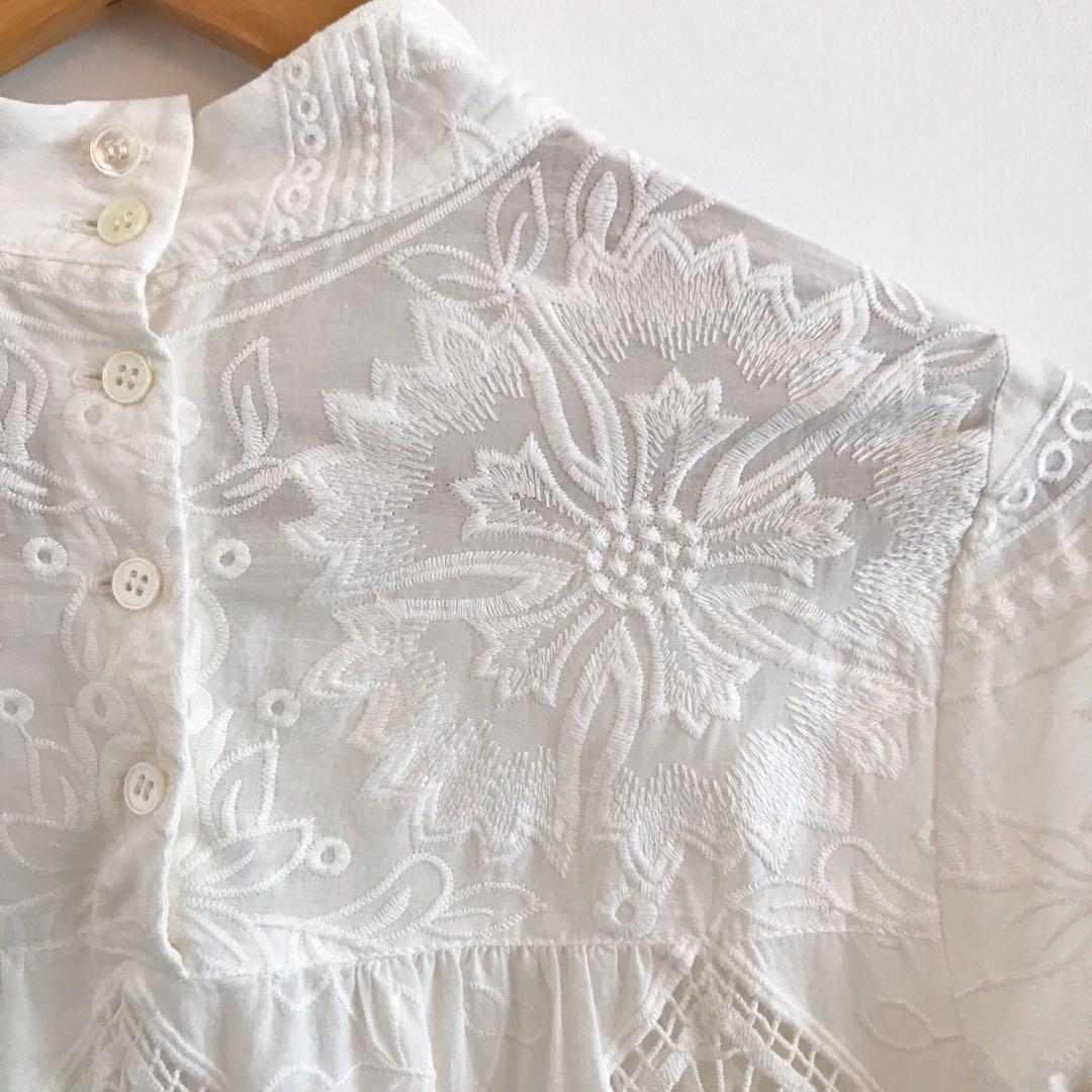 ANNA SUI 美國精品名牌 重工蕾絲雕花上衣 美國製