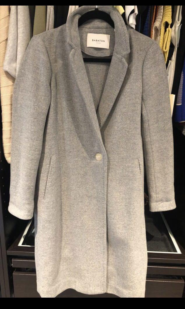 Aritzia babaton stedman wool coat heather light grey xxsmall