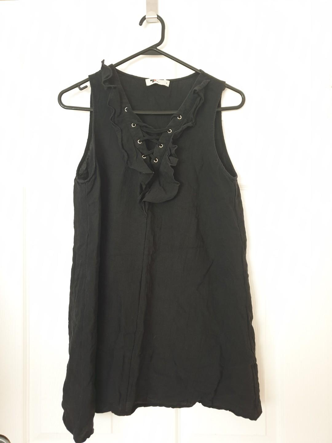 Black Chiffon Dress with Lace-up and Frill Details