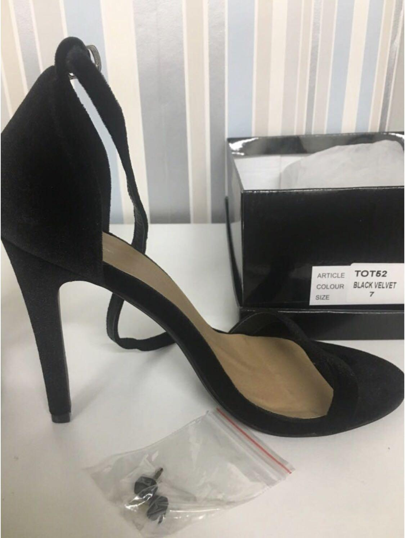 Black strap heels 4 inch