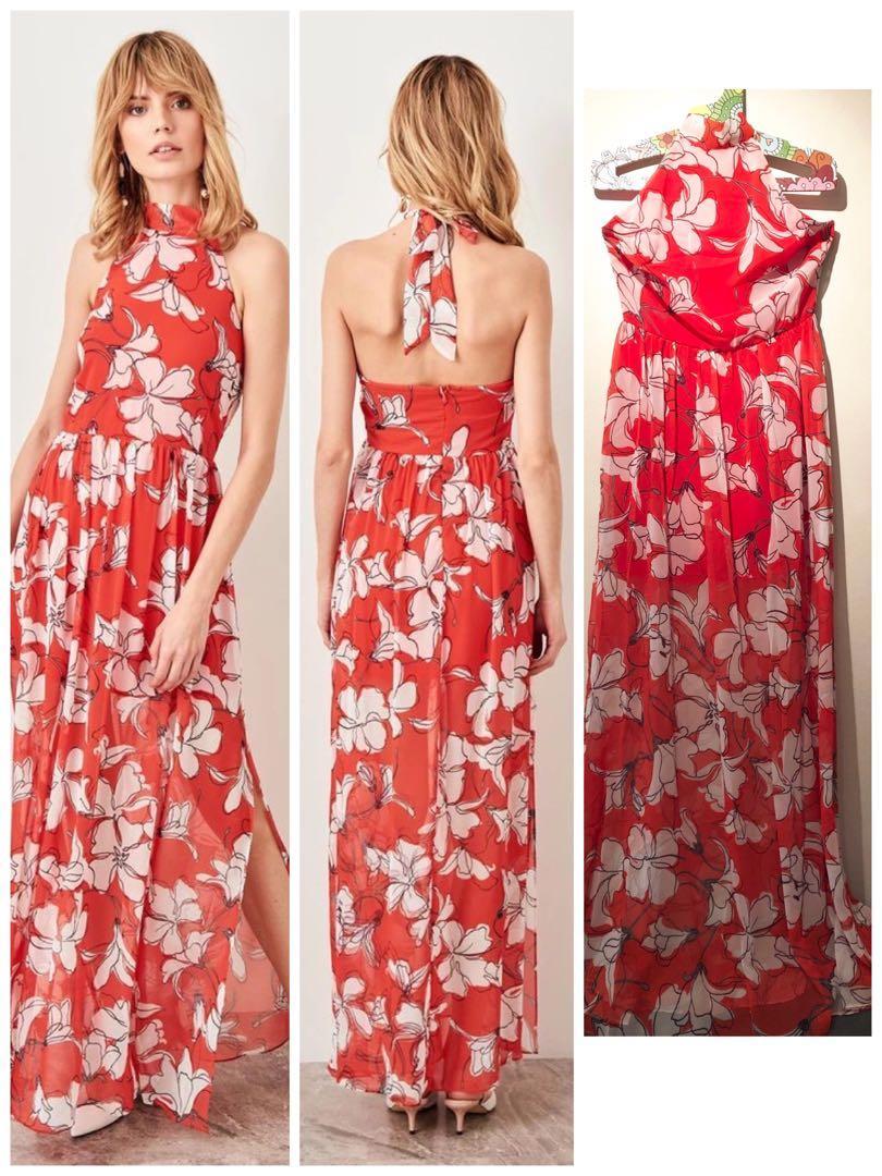 Brand new halter neck elegant evening dress orange red floral dress