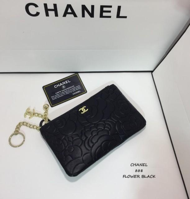 COMBO DEAL ❤❤Chanel Camellia Flower Double Zipper WOC With Camellia Wristlet Black