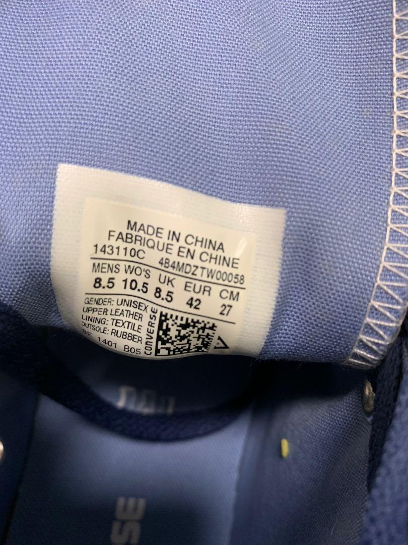 Converse UK 8.5 高筒 真皮 leather 復古 airway blue 空軍藍 鞋 CT AS Tri-Panel 143110C