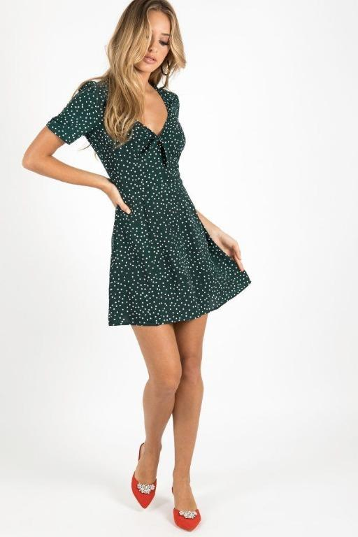 Cute Dark Green Polka Dot Tie Dress Size 8 by Dissh
