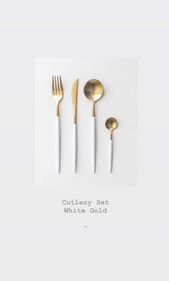 Cutlery Set White Gold