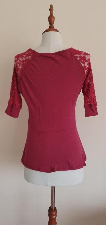 Details about  2x Guc Size 10 Ladies Rivers Regular Fit lace sleeve peplum tops Purple & Marone