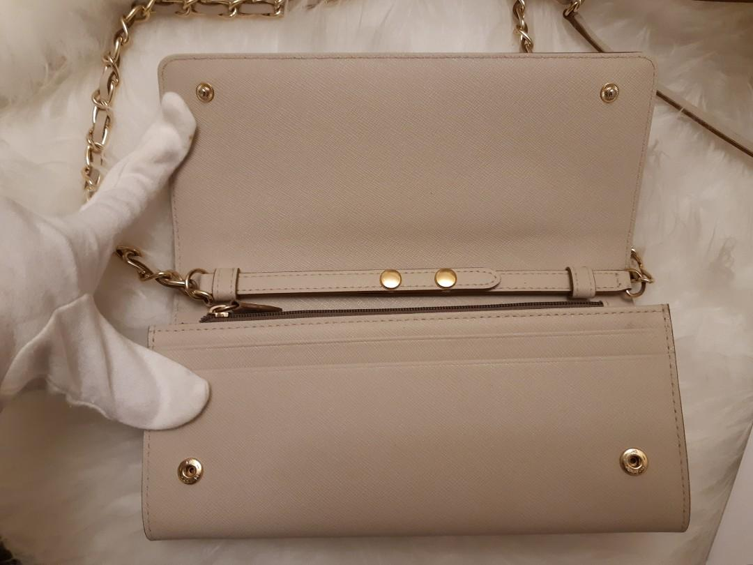 DKNY Bryant Saffiano Leather Sand/Beige/Nude Wallet Chain/Clutch