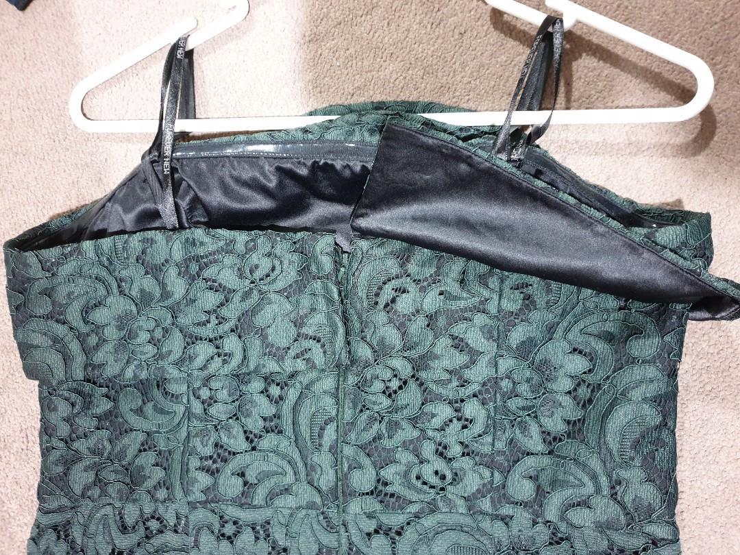 Forever New Dark green strapless dress -Size 12