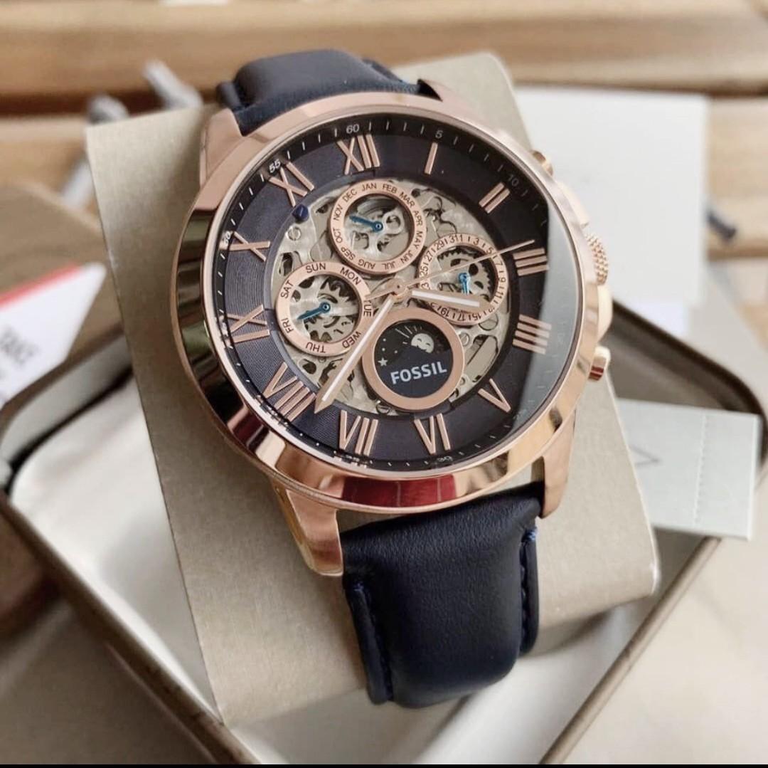 全新正品FOSSIL手錶(ME3029)玫瑰金深藍色真皮錶帶鏤空自動上鍊男生時尚機械腕錶45mm