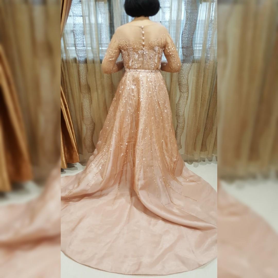 Gaun Pesta Mewah Designer Sanny Halim Rose Gold Designer Ukuran L