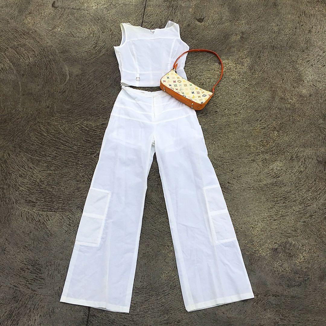 Gorgeous vintage two piece white crop top and pants set