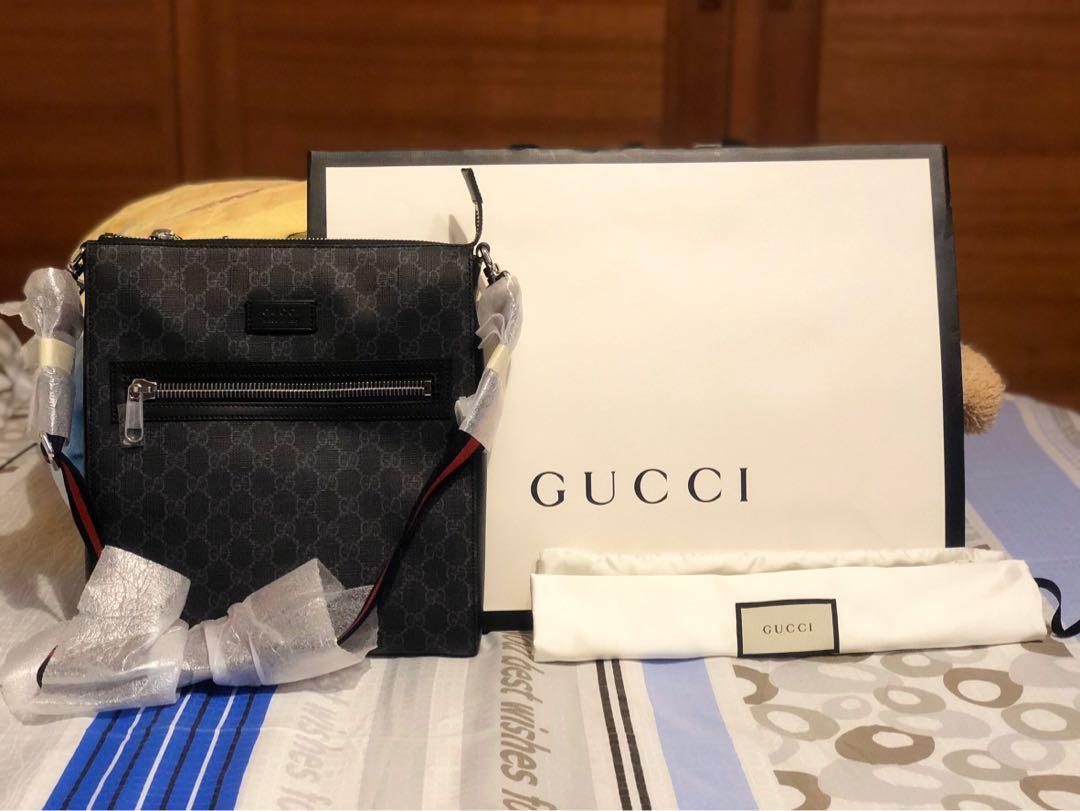 Gucci 方型拉鍊斜背包(黑灰)