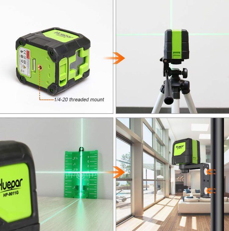Huepar Cross Line Laser - DIY Self-Leveling Green Beam Horizontal and Vertical Line Laser Level with 100 Ft Visibility, Bright Laser with Magnetic Pivoting Base and Laser Target -9011G (M3091)