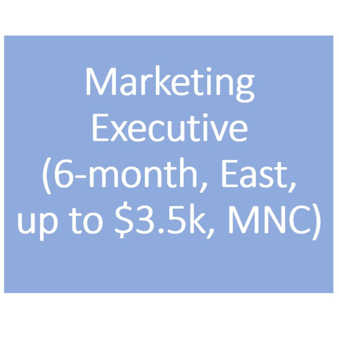 Marketing Executive (6-month, east, up to $3.5k, MNC)