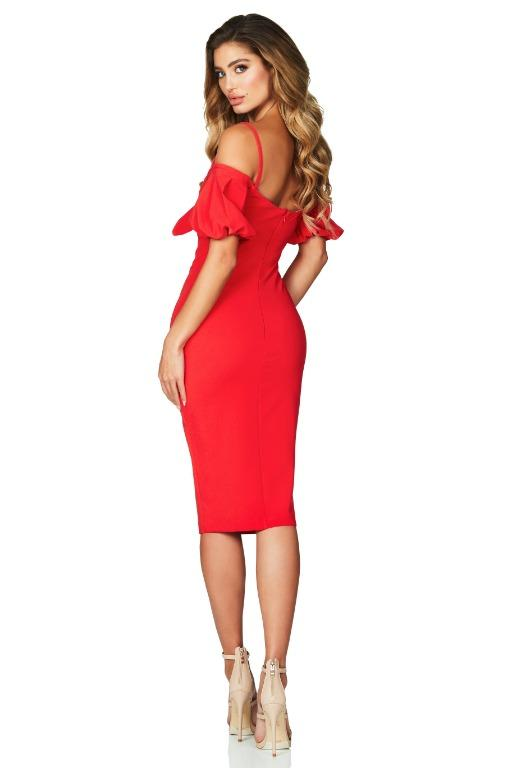 Nookie Belle Midi Dress in Cherry Red Size XS 4-6 BNWT