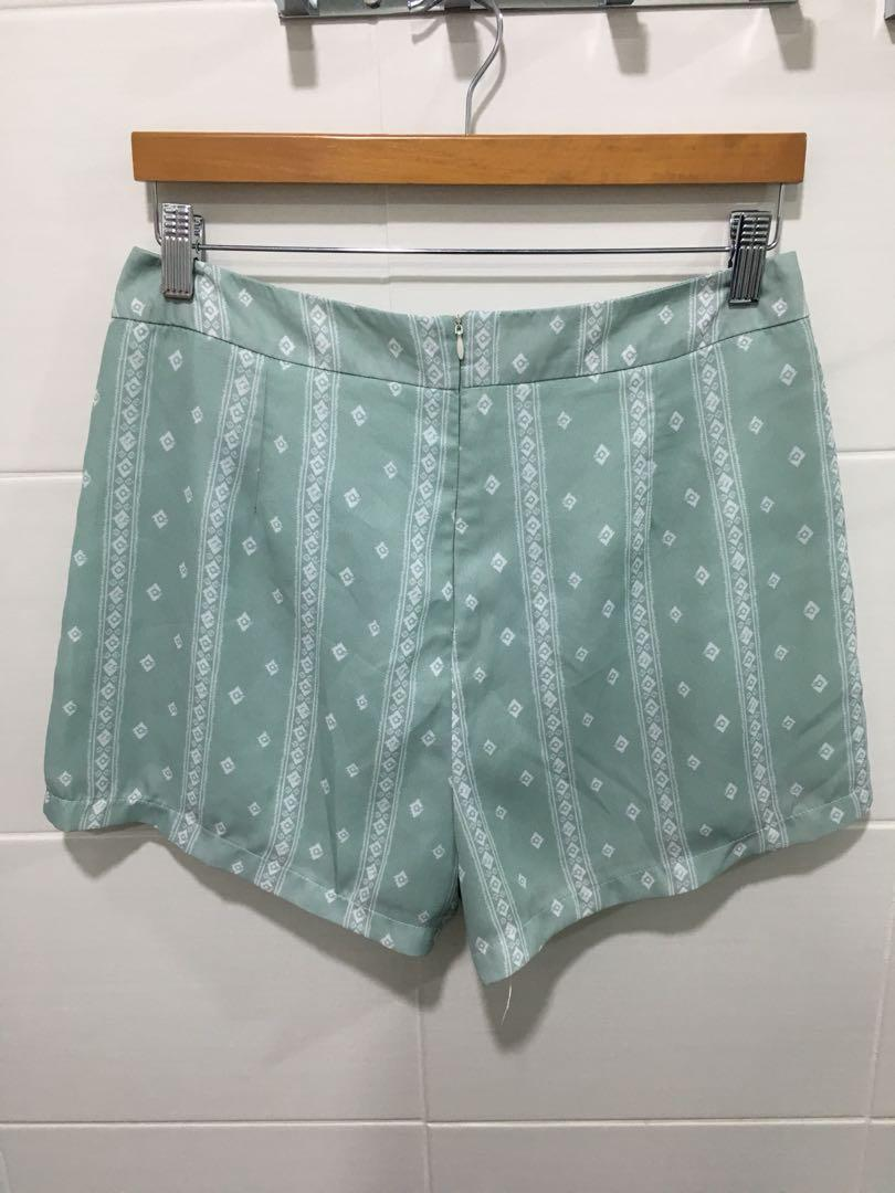 Pattern Mint Green Shorts #1111