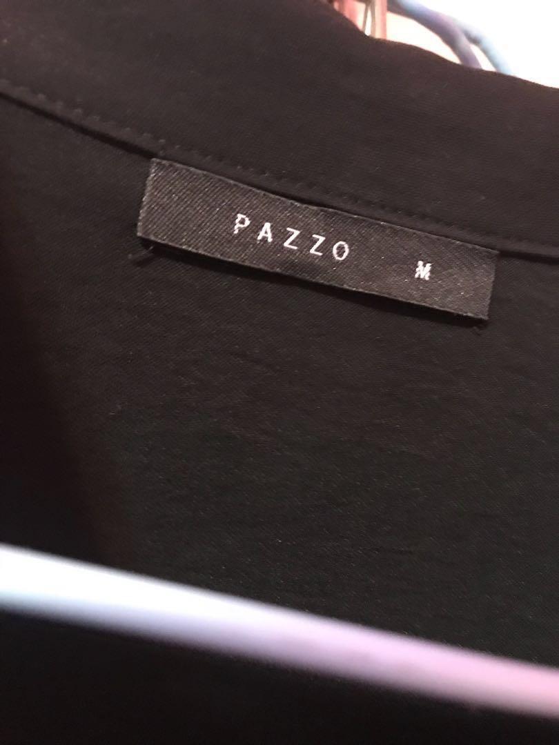 Pazzo黑色雪紡襯衫式洋裝