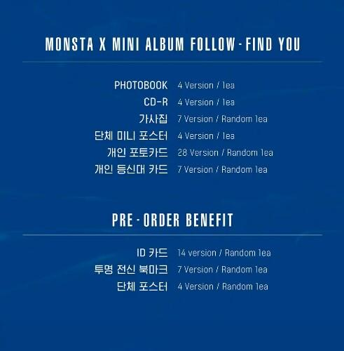 {Pre-Order - SEALED}   MONSTA X - FOLLOW - FIND YOU 🌼Normal Version