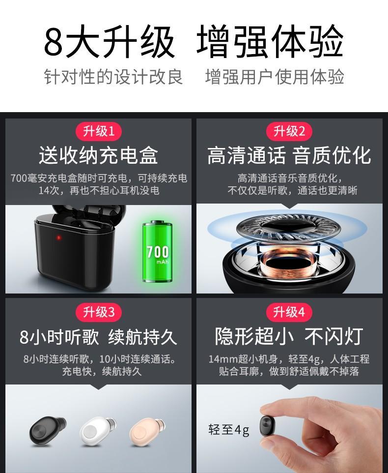 【Q夫妻】賓麗 BL1 700mAh充電盒 迷你 4.2 藍芽耳機 Bluetooth 無線耳機 亮黑色 #C6-1